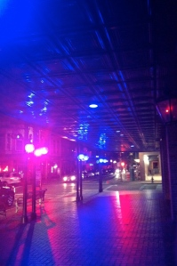 Blue lights along the outside of Sheraton Gunter hotel in support of Autism Speaks Light it Up Blue.